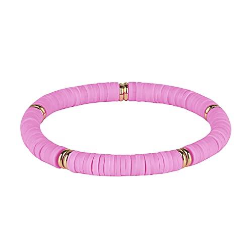 KELITCH Pulseras Elásticas Apilables Rainbow Heishi Pulseras con Cuentas Pulseras Elásticas De La Amistad Boho Summer Beach Jewelry (01C)