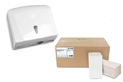 Handtuch-Papierspender Set | Kapazität für ca. 300 Blatt ZZ-Falz | modernes Design, weiß | Sichtfenster zur Verbrauchskontrolle | inkl. 5000 Stück Handtuchpapier 1-lagig, ZZ-Falz, 25x23 cm, Recycling