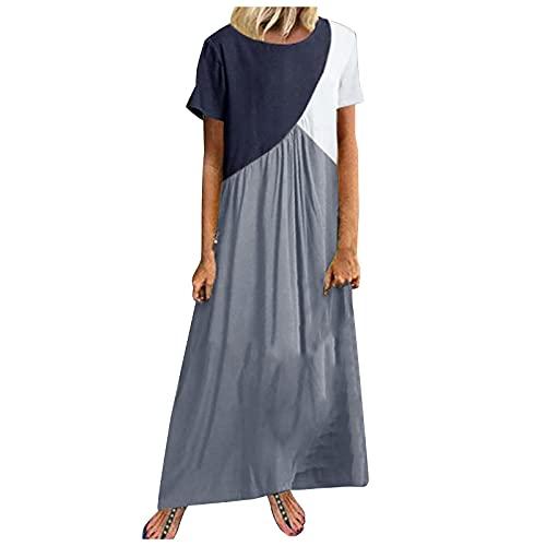 Liably Vestido informal para mujer, moderno, cuello redondo, color de contraste, vestido largo, vestido de verano, sexy, maxivestido, suelto, vestido de playa, gris oscuro, M