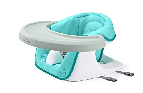 Summer 3-in-1 Floor 'N More Support Seat - Floor, Feeding, and Booster Chair for Infants and Toddlers – with Machine Washable Fabric Seat and Removable Dining Tray, Aqua