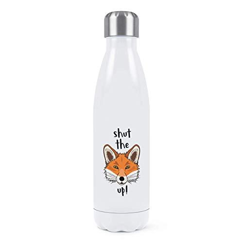 Shut el Zorro Hasta Doble Pared Agua Botella Aislado Acero Inoxidable SPORTS Bebidas 500ml Blanco