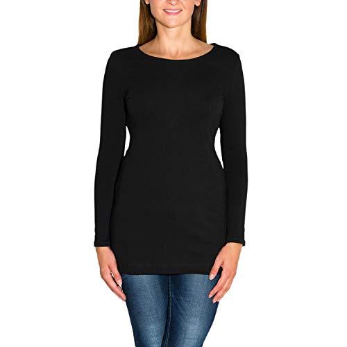 Alkato Damen Langarm Longshirt Tunika Basic Shirt, Farbe: Schwarz, Größe: S