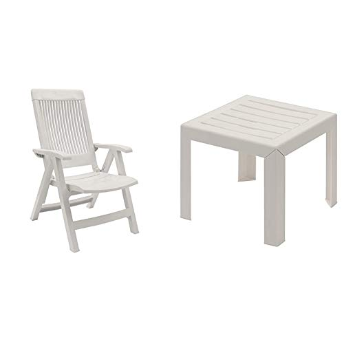 GROSFILLEX Fauteuil Multi-Positions Fidji 3, Blanc, 67 x 62 x 107 cm & Miami Table, Blanc, 40 x 40 cm