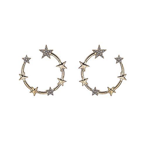 Genérico 1 par de Pendientes de Estrella Moda Mujer Pendientes Decorativos Joyería de Oreja de Oro