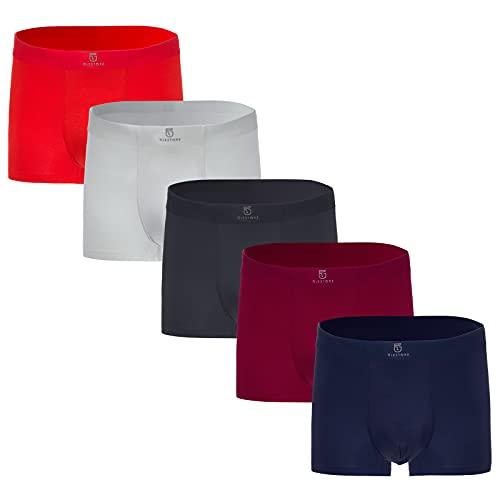 GLESTORE Herren Boxer Boxershort Unterhose 5er Pack Black Herren Unterwäsche Modale 5 Mehrfarbig L