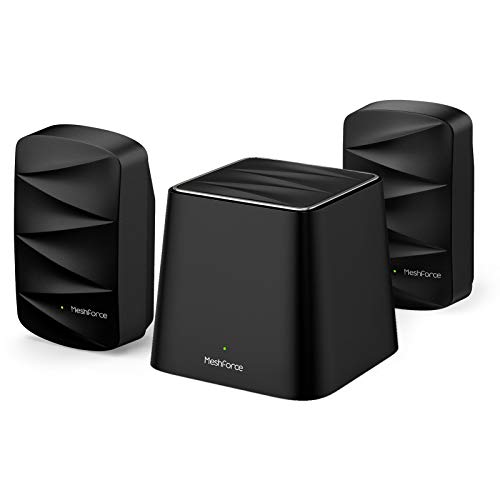 Meshforce M3 Suite Whole Home WiFi System (1 WiFi Point + 2 WiFi Dots) - Dual Band Mesh WiFi Router Replacement with Flexible Wall Plug Extender - Covers Up to 5+ Rooms (Midnight Black)