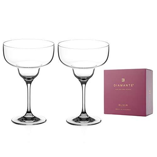 DIAMANTE Crystal Margarita Glasses Pair - 'Auris' Collection...