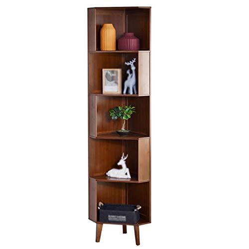 Independiente decorativo Libres, gabinetes de esquina de esquina, bastidores de triángulos en la sala de estar, bastidores de almacenamiento de bambú de múltiples capas con gran capacidad. Organizador