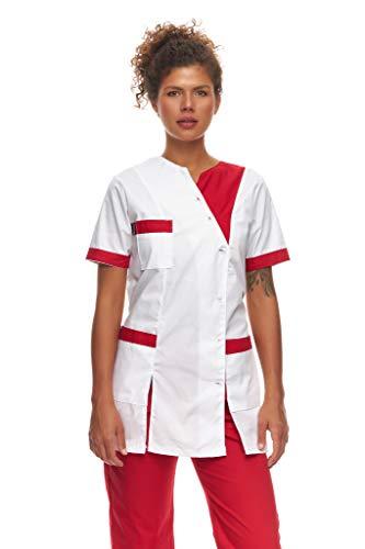 Mazalat Kasack - Chaqueta sanitaria de manga corta para mujer, fabricada en la UE, ropa de trabajo médico, ropa de cuidado de personas mayores, uniforme médico blanco/rojo L