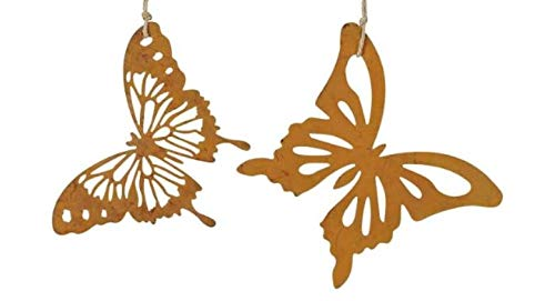 Rostalgie 2tlg. Schmetterlinge zum Hängen in Rostoptik 16 x 16 cm Garten Dekoration