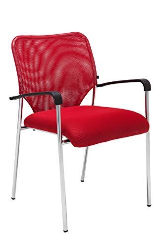 Silla de Conferencia Cuba en Tela I Silla de Reuniones con Respaldo & Reposabrazos I Silla de Espera con Base de Metal I Color:, Color:Rojo