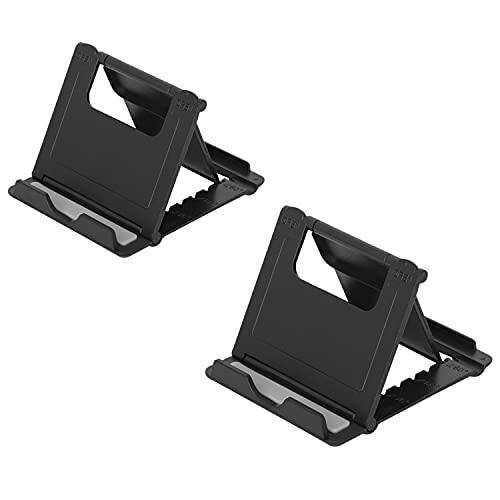 Zanebow Ange Soporte para teléfono celular, soporte ajustable para teléfono celular, paquete de 2, compatible con todos los teléfonos móviles, tabletas (6-11'), accesorios de oficina, color negro