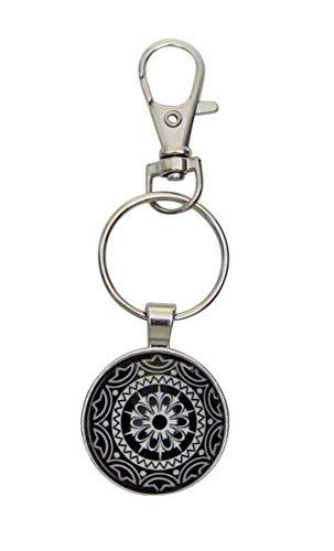 Schlüsselanhänger, Taschenschmuck, Mandala-Stil, Yantra, Schwarz und Weiß, mit Karabiner.