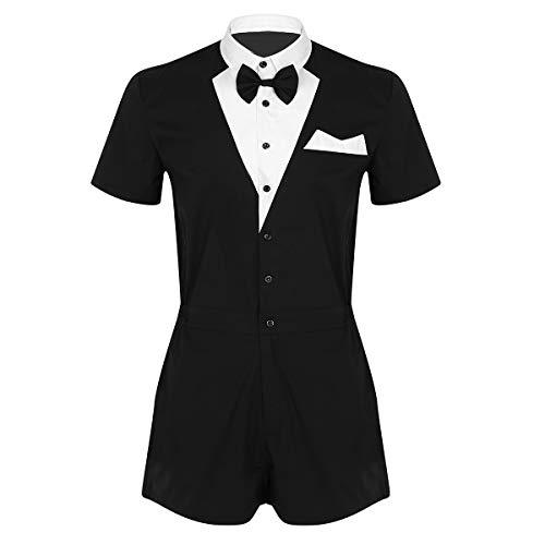 Alvivi Men's Turn Down Collar Tuxedo Bow Tie Shirts Gentleman One Piece Boxer Shorts Jumpsuit Romper Black Medium