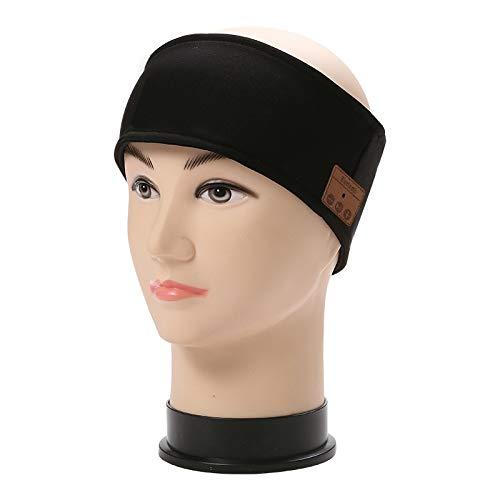 Kabellose Sport Stirnband Bluetooth Kopfhörer mit Ultradünnen HD Stereo Lautsprecher waschbare (Color : Black)