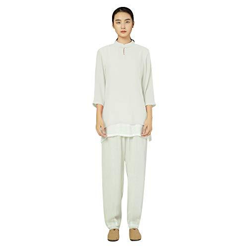 KSUA Traje de Tai Chi para Mujer Traje de meditación Tradicional Zen Chino Ropa de Artes Marciales Kung Fu Ejercicios matutinos Ropa, Blanco EU XS Etiqueta S