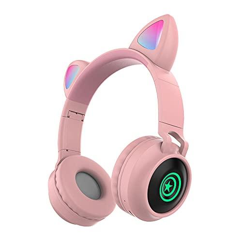 Auriculares Inalámbricos Plegables sobre Oído,Auriculare LED Glare Bluetooth 5.0, Estéreo HiFi Admite Reproducción Tarjeta TF Modo FM Baja Latencia, para iPhone/Samsung/iPad/PC(Color:mi)