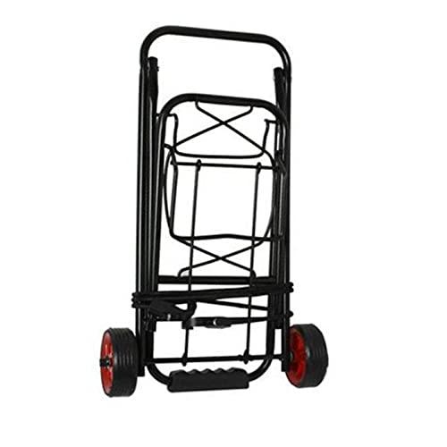 Acan Carro portamaletas Plegable de 88 x 31 x 33 cm con 2 Ruedas y Cuerda, Plataforma de Transporte Plegable de Metal para Mover Productos Pesados. Carretilla de Mano para Viajes