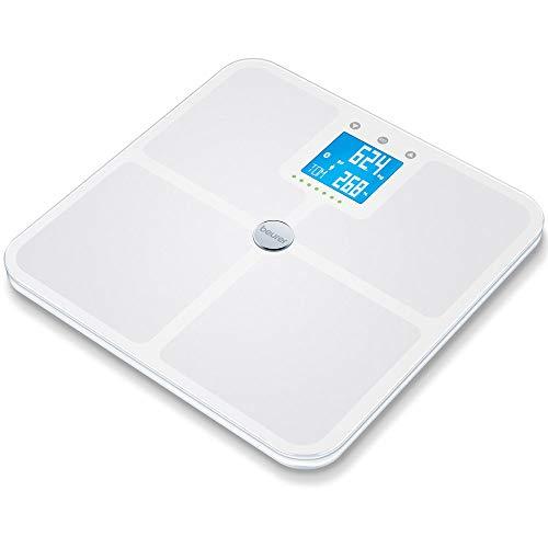 Beurer BF 950 Pèse-Personne Impédancemètre Blanc - Balance de Diagnostic Moderne - avec Mode Grossesse - 8 mémoires utilisateurs - avec Affichage des calories Amr/Bmr et Mesure de Graisse Corporelle