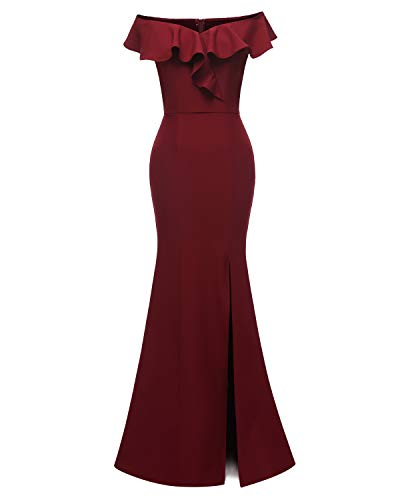 Viloree Damen Volants Schulterfrei Kleider Brautjungfer Hochzeit Cocktail Maxi Abendkleid Party Burgundy XXL