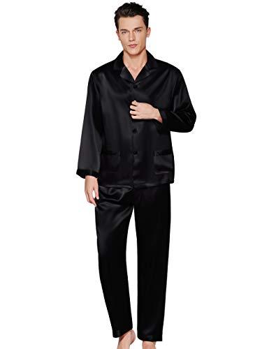ElleSilk 100% Seda Pijama para Hombre, Conjunto de Camisas y Pantalones de Seda, 22 Momme