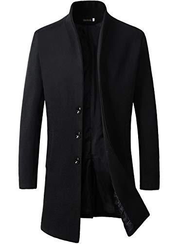 Beninos Men's Trench Coat Winter Long Jacket Button Closer Overcoat (168 Black,...