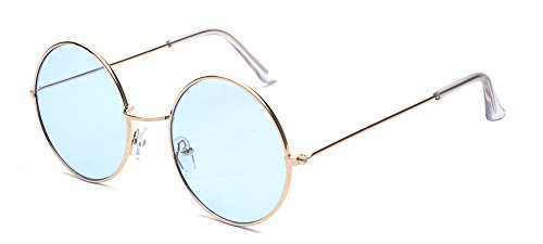 ALWAYSUV Runde Rahmen Vintage John Lennon Sonnenbrille Brillenfassung Hippe Brille Blau