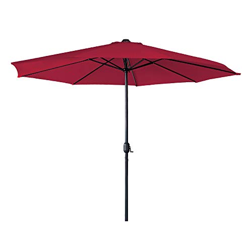 Aufun Sonnenschirm mit Handkurbel Ø350 cm Gartenschirm aus Polyester Sonnenschutz UV-Schutz 40+ Terrassenschirm für Balkon, Terrasse & Garten, Rund, 8 Streben, Rot