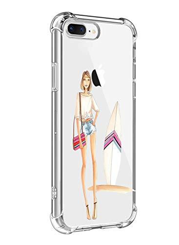 Suhctup Coque Filles Compatible pour iPhone 7/iPhone 8,Etui [Antichoc Airbag] Transparent Silicone TPU Souple Mode Motif Crystal Housse de Protection Case pour iPhone 7/8,Filles 3