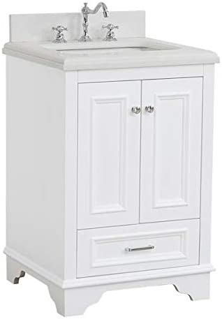 Amazon Com Nantucket 24 Inch Bathroom Vanity Quartz White Includes White Cabinet With Stunning Quartz Countertop And White Ceramic Sink Kitchen Dining