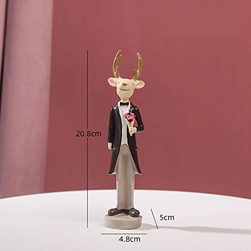 yueyue947 13cm Resin Gentleman Angel Elk Figurines Cartoon Cute Animals Creative Home Decoration Accessoires Regalo de cumpleaños para niños/Gentlamen Elk Flower