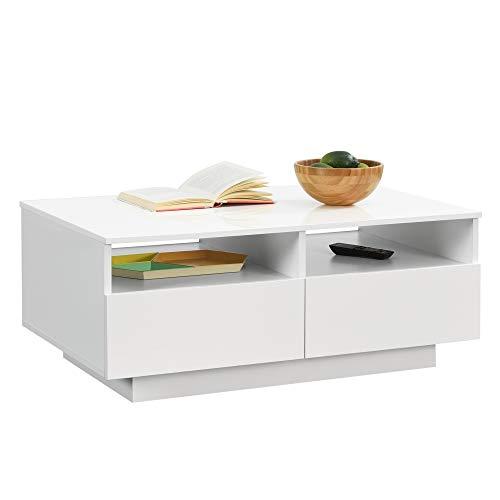 [en.casa] Couchtisch Svalöv 35 x 90 x 56 cm mit 4 Schubladen 2 Ablagen Beistelltisch Wohnzimmertisch Sofatisch Spanplatte Weiß