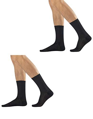 CALZITALY 2 pares de calcetines cortos para hombre de hilo de Escocia Negro 39-41