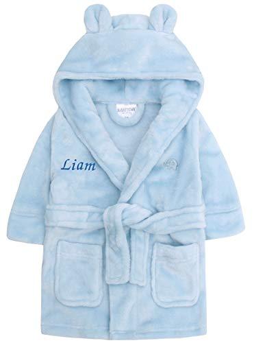 Baby Girl Boy Personalised Dressing Gown Bathrobe Hooded Bear Ear Pink Blue Grey (18-24 Months, Blue Bear Ear)