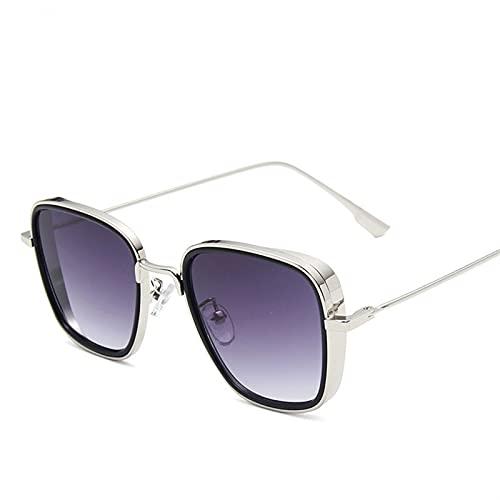 SLAKF Gafas de Sol Gafas de Sol cuadradas Retro Gafas de Sol de Steampunk para Hombre Gafas de Sol Negras Rojas (Lenses Color : C3)