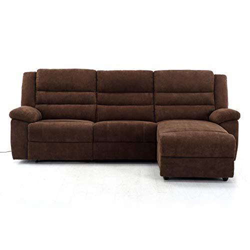RABURG Fernsehsofa 3-Sitzer, elektrische Relaxfunktion - mit USB, Wohnzimmer Couchganitur mit bequemer Liegefunktion, Ecksofa aus Mikrofaser, BRAUN