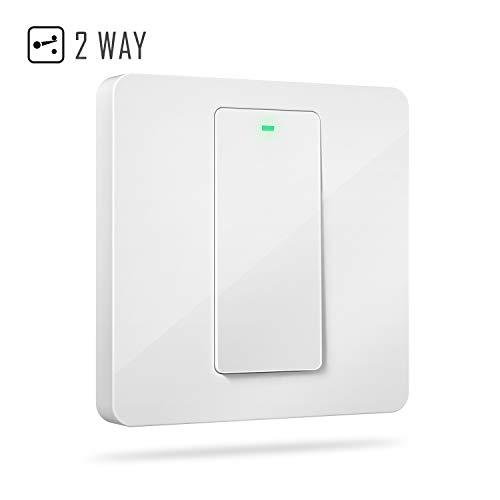 Interruptor de Pared Wi-Fi 2 Vías, 1 Canal, Compatible con Alexa, Asistente de Google y SmartThings. meross MSS550X. (Se Requiere un Cable Neutral al Instalar)