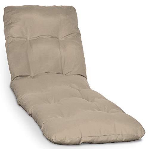 Beautissu Cojín colchón Flair RL Acolchado para Tumbona de jardín y Playa 190x60x8cm Copos de gomaespuma - Natural