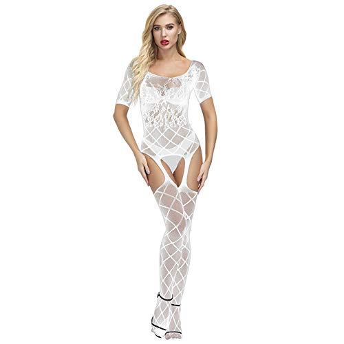 Moent Sexy Fischnetz-Babydoll-Dessous, Unterwäsche, Nachtwäsche, Bodysuit für Damen, Intimates UK Sale, Weiß, Einheitsgröße