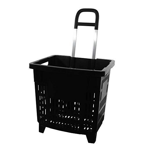 GERSO - Carrello spesa 55 litri con ruote Cestino spesa in plastica ABS, mobile, di colore nero