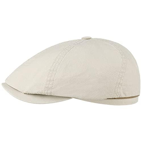 Stetson Stetson Delave Organic Cotton Flatcap - Unifarbene Kappe für Herren - 100% Baumwolle - Regular Fit - Schirmmütze mit UV-Schutz - Sommer/Winter beige S (54-55 cm)