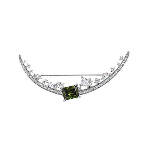Broche Broche de la Mujer de la Media Luna broche de circón elegante Pin, duradero y útil, conveniente for el vestido regalo for la fiesta de cumpleaños de banquete de la boda, con caja de regalo Broc