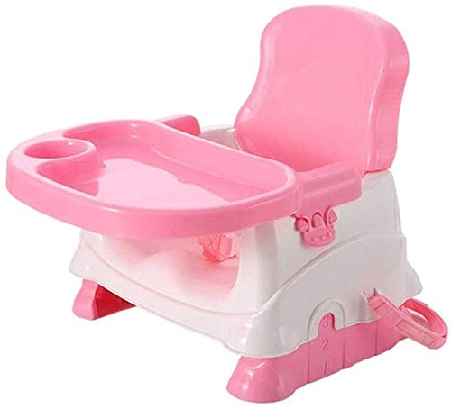 Silla alta segura Silla de comedor para bebés, asiento, asiento para bebés con bandeja, se convierte en un asiento elevador y trona, asiento para bebés (color: rosa) Silla de comedor fácil de montar