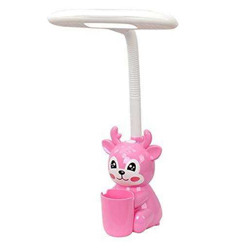 TMIL Lámpara Escritorio LED con Cuello Flexible, lámpara Mesa Cuidado Ojos con Soporte bolígrafo, lámpara de Lectura Noche Creativa de Dibujos Animados Dormitorio para Trabajando en casa,Rosado