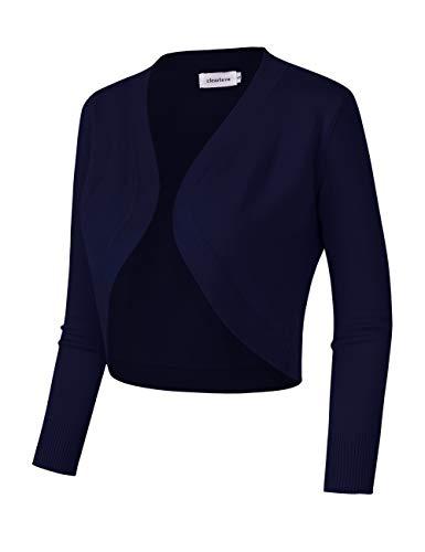 Clearlove Damen Bolero Elegant Kurz Strickjacke 3/4 Ärmel Cardigan(Verpackung MEHRWEG)