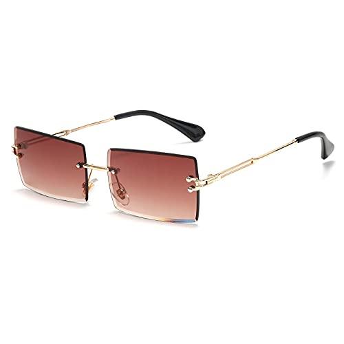 Dakecy Gafas de Sol cuadradas sin Montura para Mujer, Gafas de Moda sin Marco, Gafas Transparentes rectangulares Vintage para Mujeres y Hombres (Color : Brown)