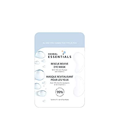 Herbal Essentials Rescue Revive Under Eye Mask with Marula Oil and Organic Rosehip Oil, Ultra Hydrating Sheet Mask for All Skin Types, 1 x Under Eye Mask from Herbal Essentials