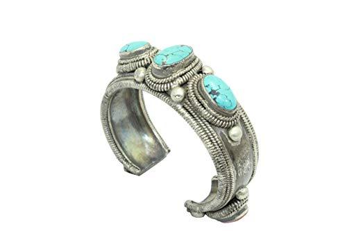 Rajasthan Gems - Bracciale rigido da donna in argento Sterling 925, con pietra corallo turchese 127,60 g