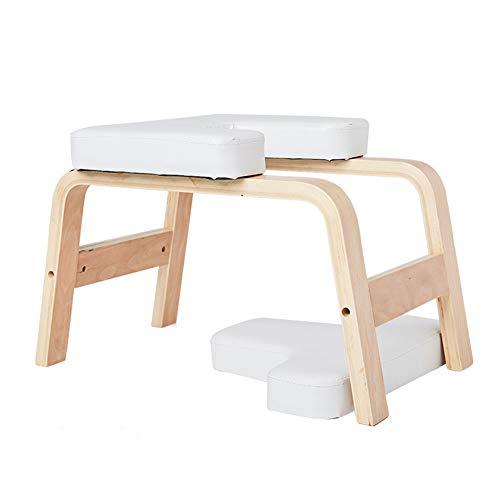 XUN Yoga Studio Inversion Hocker Stuhl, Holz- und PU-Polster, Müdigkeit lindern und Körper aufbauen, weiß
