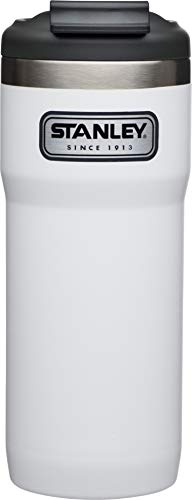 Stanley Legendary Classic Vakuum-Thermobecher mit Verschluss-Bügel, 0.47 L, Polarweiß, 18/8 Edelstahl, Doppelwandig Vakuumisoliert, Isolierbecher Kaffeebecher Teebecher Trinkbecher